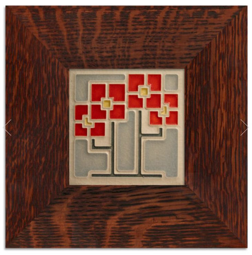 Framed 4x4 Square Red Flowers Motawi Tile