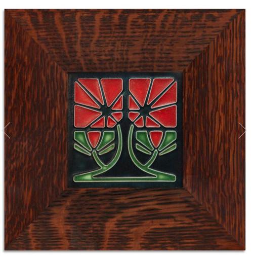 Framed 4x4 Petunia Red Motawi Tile