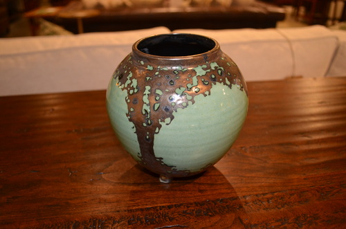 Green Oval Luster Vase by Hog Hill Pottery