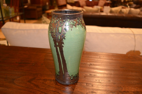 Medium Green Bronze Luster Vase by Hog Hill Pottery