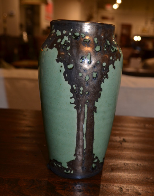 Small Green Bronze Luster Vase by Hog Hill Pottery