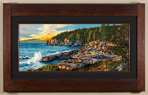 Rocky Acadia Coast Print by Keith Rust Black Linen