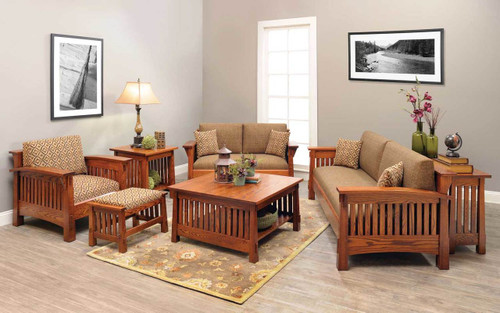 Country Mission Style 7-piece Living Room Set 4575-QF