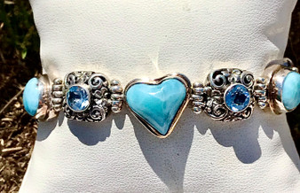 Heart Shaped Larimar and Blue Topaz Bracelet