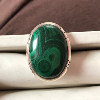Malachite Sterling Silver Size 4.75