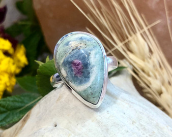 Ruby Fuchsite Sterling Silver Ring Size 9.5