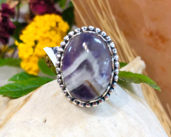 Chevron Amethyst Sterling Silver Ring Size 7