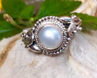 Pearl Sterling Silver Size Ring 7.5