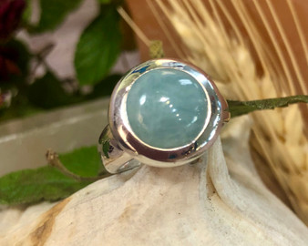 Aquamarine Sterling Silver Ring 6 3/4