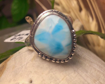 Larimar Sterling Silver Ring 6 1/2