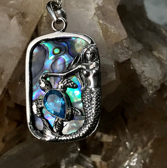 Blue Topaz and Abalone Reversible Necklace