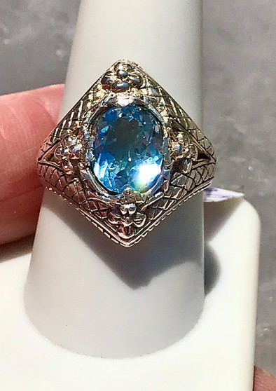 Faceted Blue Topaz Bali Ring