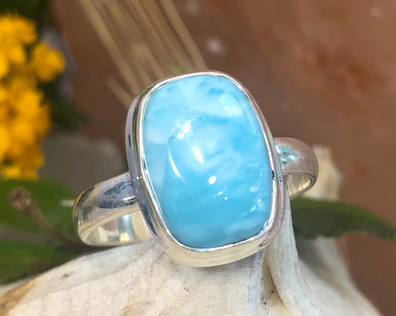 Larimar Sterling Silver Ring Size 10 3/4