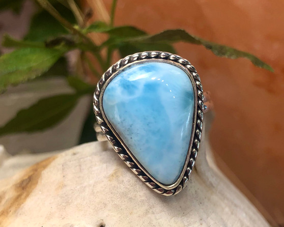 Larimar Sterling Silver Ring Size 6 3/4