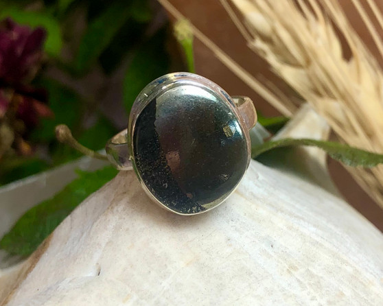 Pyrite Magnetite Sterling Silver Ring Size 6