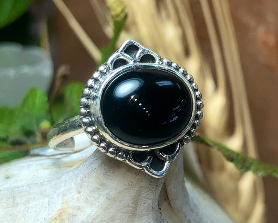 Onyx Sterling Silver Ring Size 6