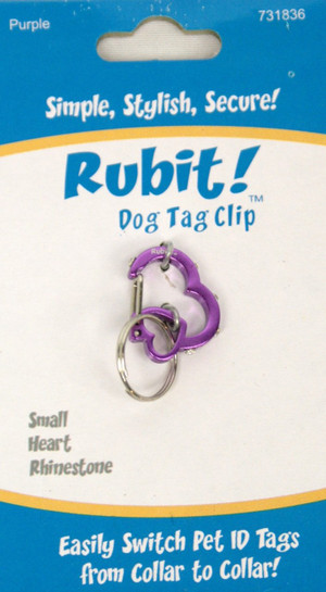 Small Heart Rhinestone Dog Tag Clip