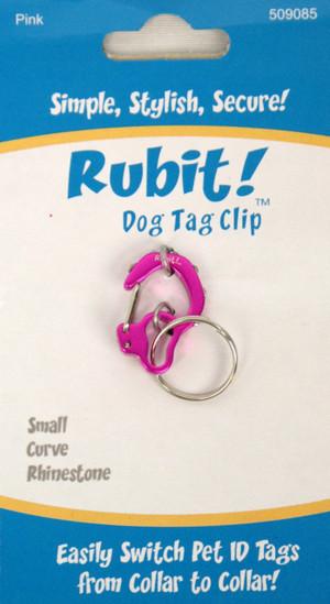 Small Curve Rhinestone Dog Tag Clip