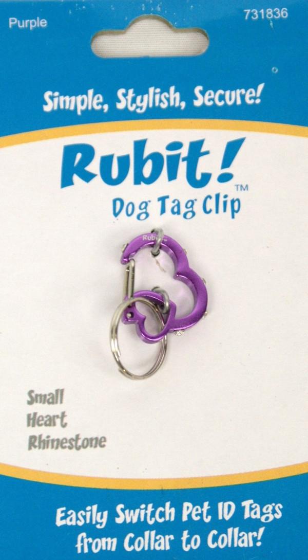 Small Heart Rhinestone Dog Tag Clip