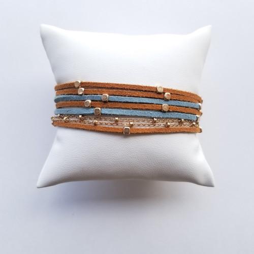 Banner Elk Bracelet - Blue & Taupe