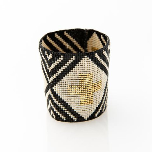 Stripe Cross Luxe Bracelet Black