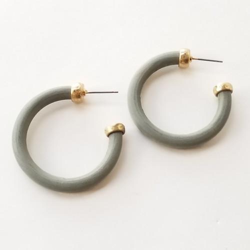 Angel Oak Slate Wood Hoop Earrings