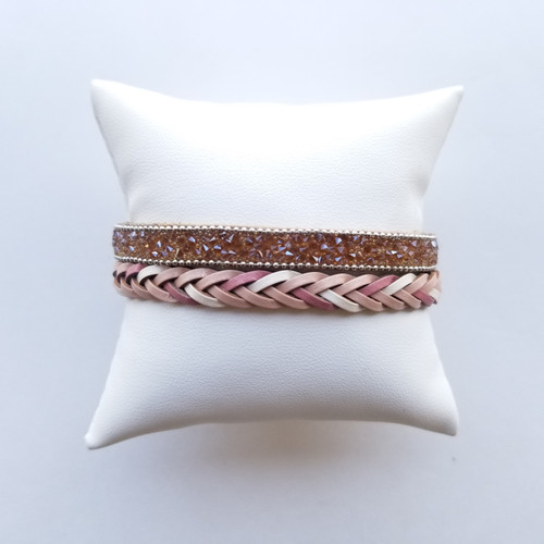 High Rock Braided Stone Bracelet Pink