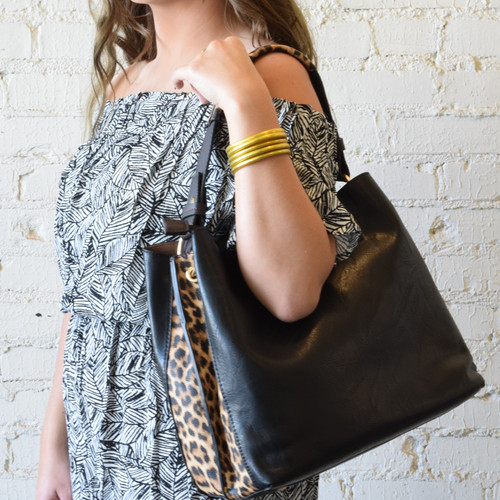 The Carthage Handled Purse Suede Two Tone