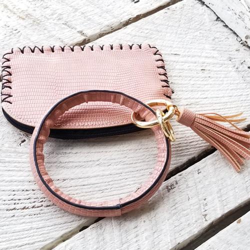 Southern Simus Mini Wristlet - Pink Scales