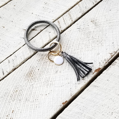 Dia Tassel Keychain Bangle - Black Speckle