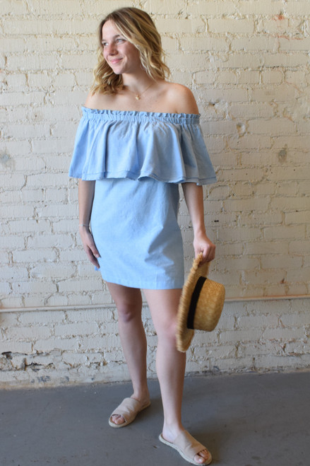 Pippa Dress Blue Chambray