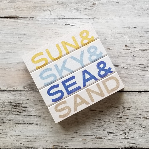 Wood Coaster - Sun Sky Sea