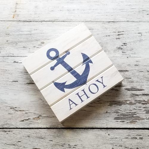 Wood Coaster - Ahoy Anchor