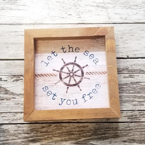 """Framed Sign 7"""" Square - Let The Sea Set"""