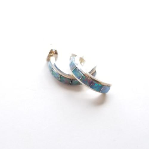Sterling Silver Sayana Rainbow Opal Hoops