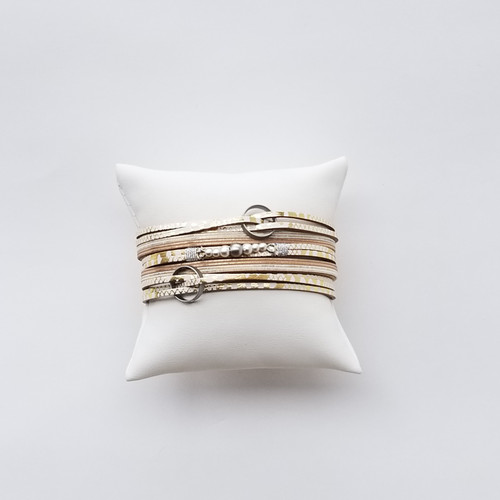 Semina Layered Wrap Bracelet - Gold White