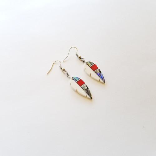 Shakori Red, White & Abalone Earrings