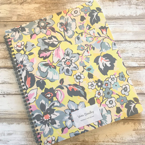 Large Notebook with Pocket, Sunny Garden