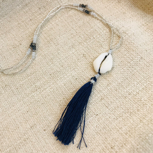 Seafarers Puca Tassel Necklace - Navy