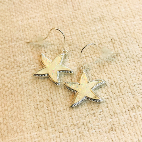 Soundside Starfish Dangles - White Shimmer