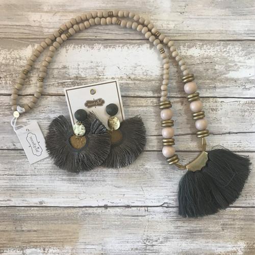 Hammered Tassel Earrings - Olive