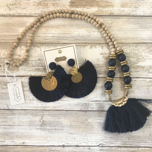 Tassel Necklace - Navy
