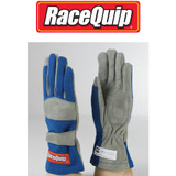 RaceQuip 351025 Large 1-Layer Blue Auto Racing Driving Gloves Nomex SFI Rated