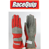 RaceQuip 351013 Medium 1-Layer Red Auto Racing Driving Gloves Nomex SFI Rated
