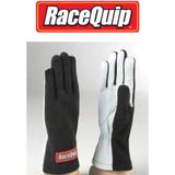 Racequip 350006 Driving Gloves 350 Nomex/Leather Black/White Men's X-Large Pair