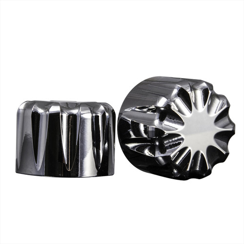 Chrome 3D Harley Axle Covers