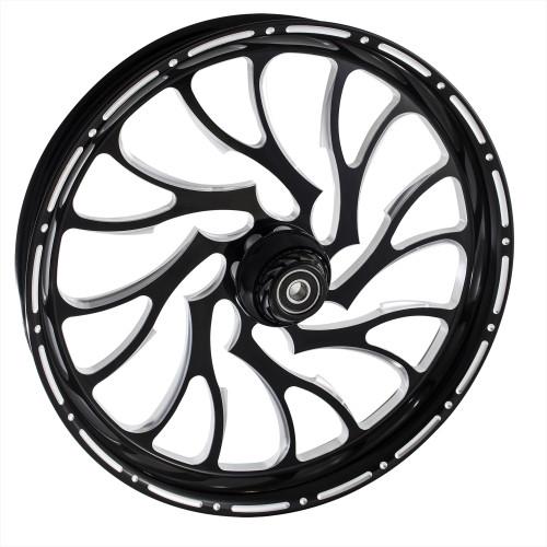 FTD Customs 21 inch Nightmare LD Black Contrast Motorcycle Wheels