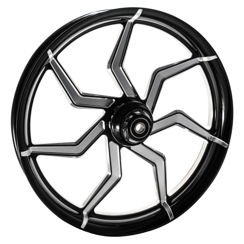 FTD Customs 21 inch Sniper Black Contrast Harley Davidson Motorcycle Wheel