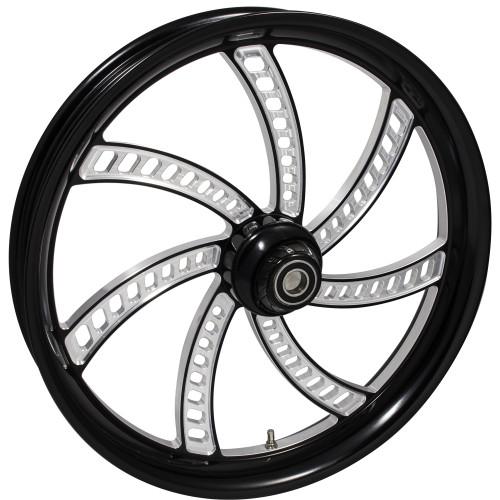 FTD Customs 21 inch Slapshot Black Contrast Harley Davidson Motorcycle Wheel