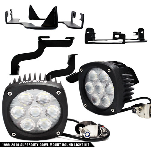 1999-2007 Ford Superduty Cowl Mount Round Light Kit (FW-SDRDLK)